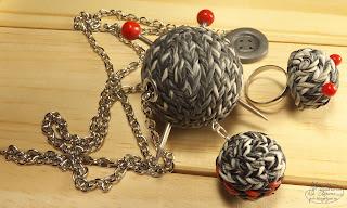 комплект кольцо кулон браслет, имитация вязки