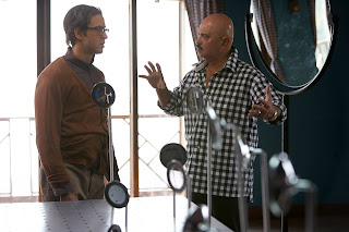 Hrithik Roshan in Rohit getup with Rakesh Roshan on Krrish 3 sets