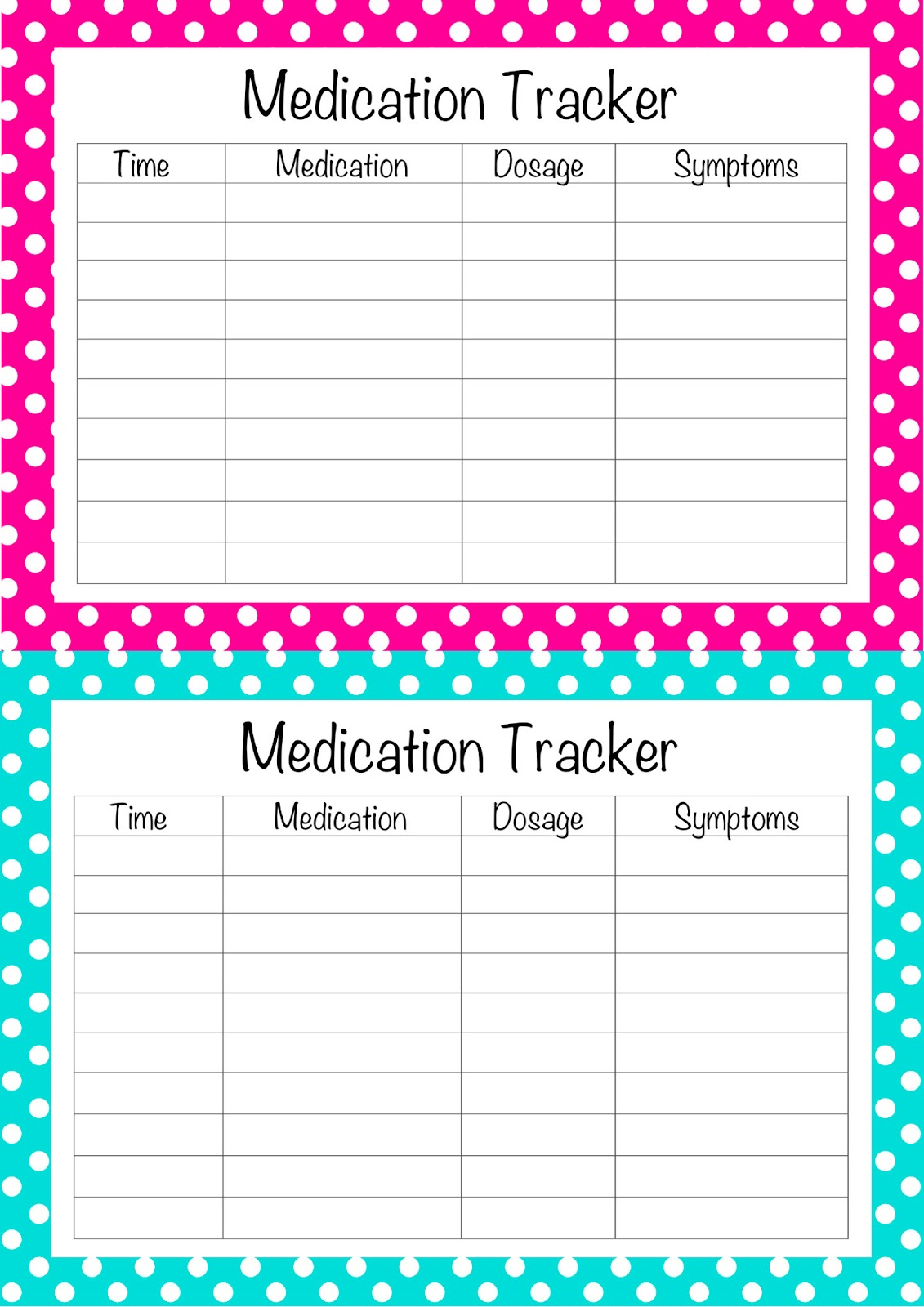 free printable medication tracker