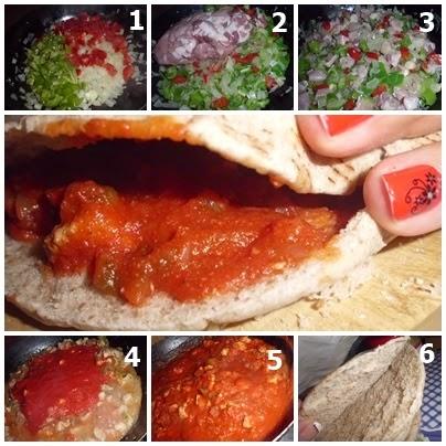 pan de pita y carne en salsa