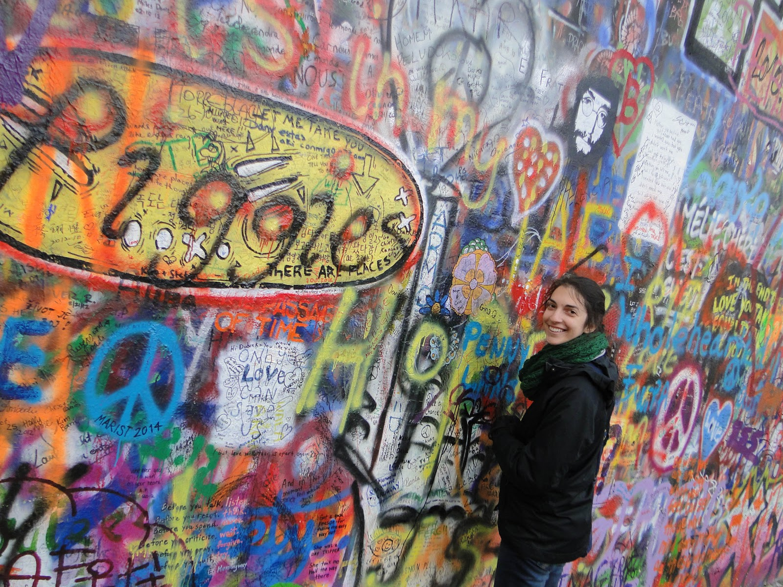 From the beatles yellow submarine i wanna hold your hand the john lennon wall is a place in prague where they commemorate his strong lyrics and