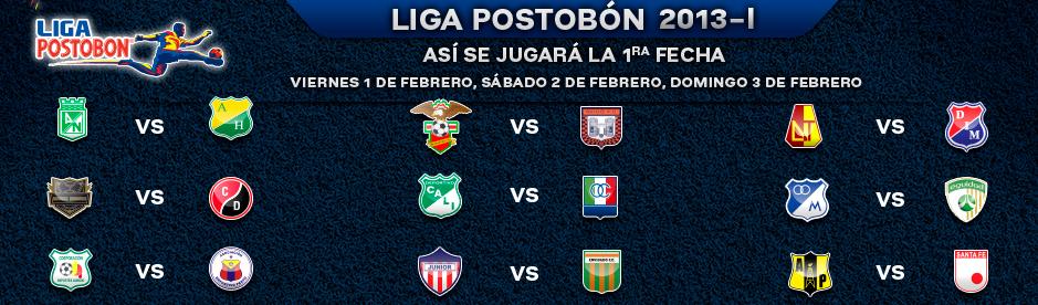 Así se jugará la primera fecha de la Liga Postobon 2013