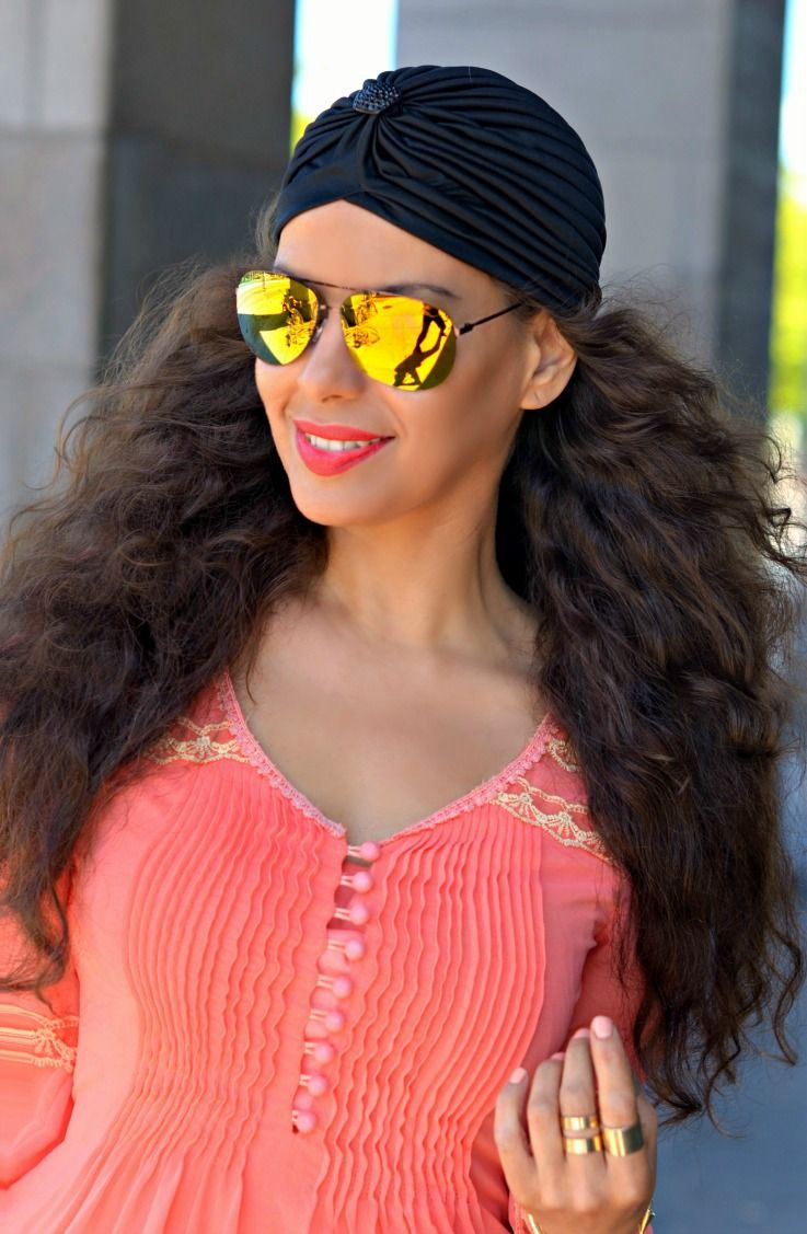 H&M gladiator sandals,Jacky Luxury dress,yellow mirrored sunglasses,trendy,summeroutfit,black turban,coral dress