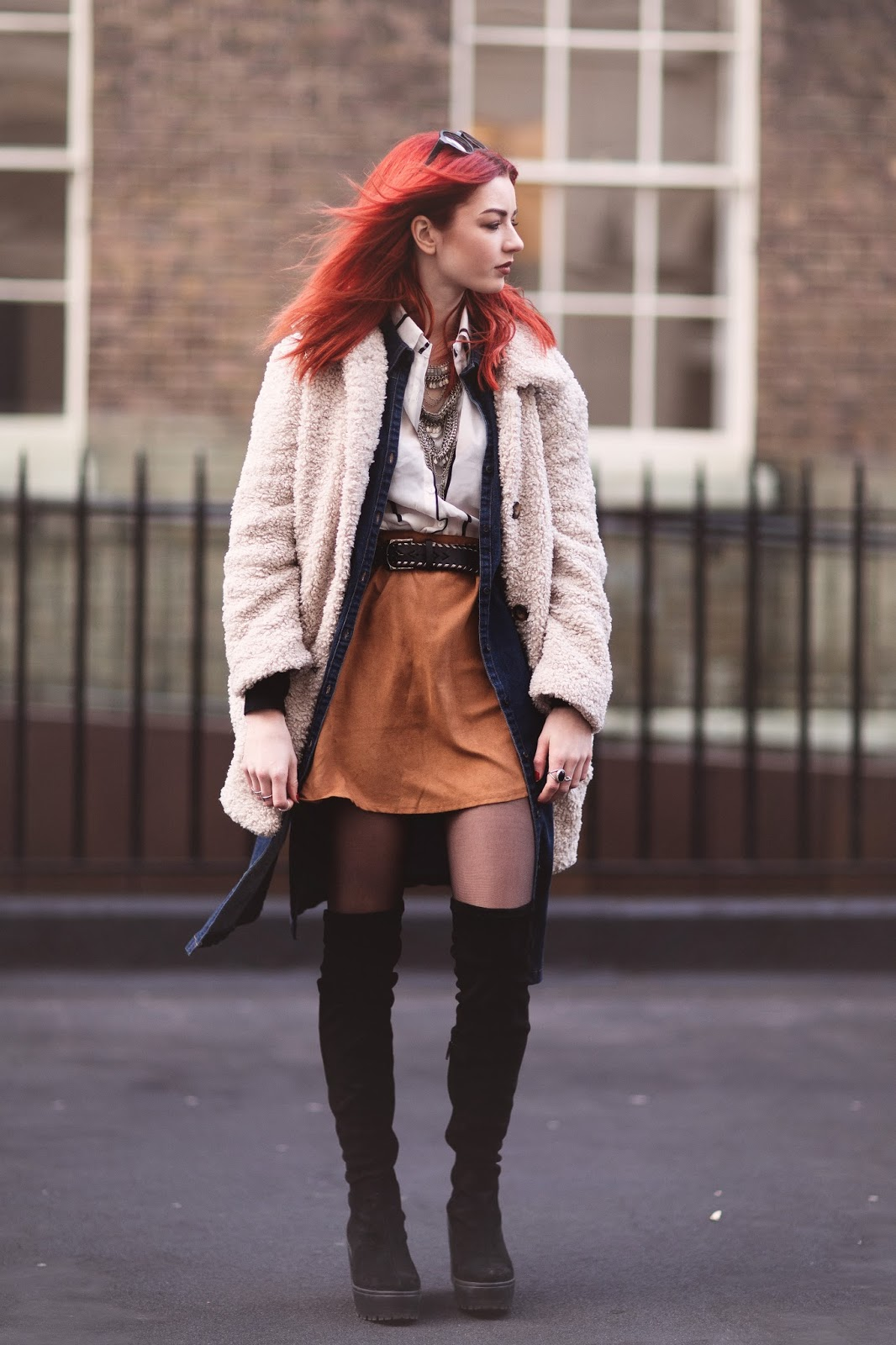 tan suede skirt