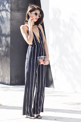 Joselin of le Pretty Stellar and Jamie Chung of What the Chung in Faithfull the Brand Black Sarah Striped Shutterbabe Jumpsuit
