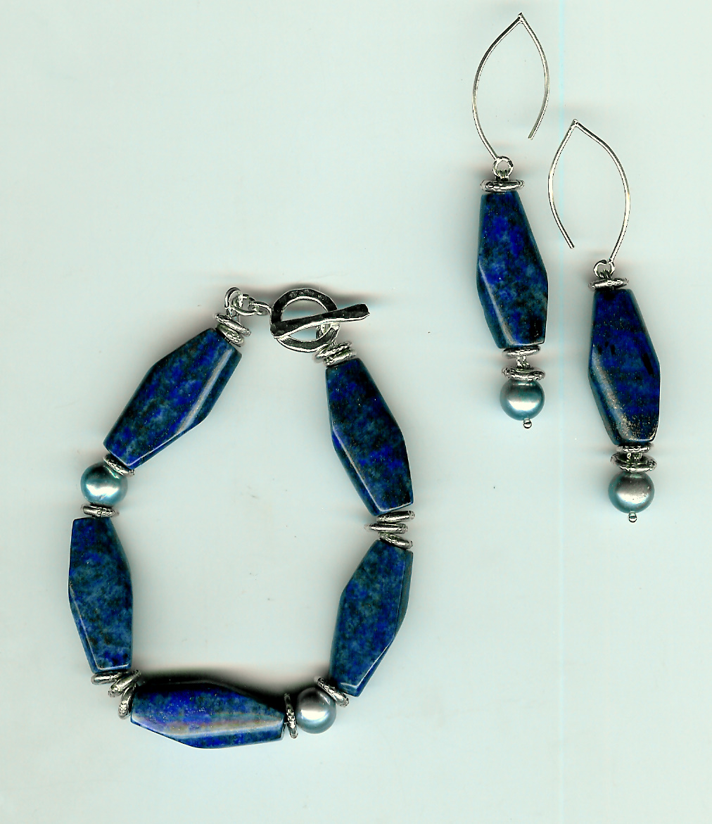 228. Lapis Lazuli with Freshwater pearls and Thai Sterling Silver
