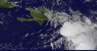 Satellitenfoto Tropensturm Erika Dominikanische Republik HQ