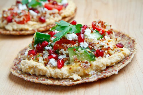 Quinoa Flatbread with Tabbouleh, Falafel, Feta and Pomegranate on ...