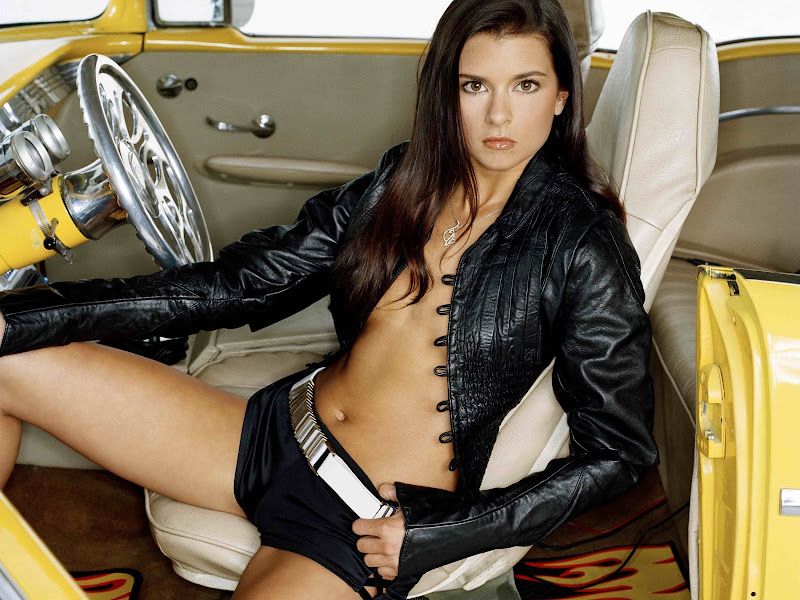 Danica Patrick in leather jacket for FHM Magazine