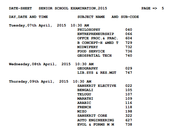 CBSE Timetable 2015 Class 12 page 9