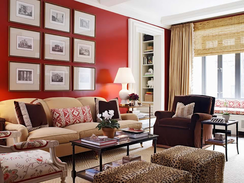 Red And Tan Living Room With Walls (6 Image)