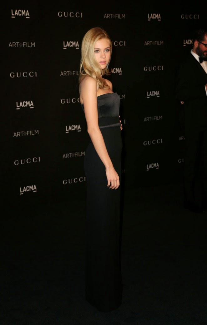 Nicola Peltz at the 2014 LACMA Art + Film Gala in a strapless black gown
