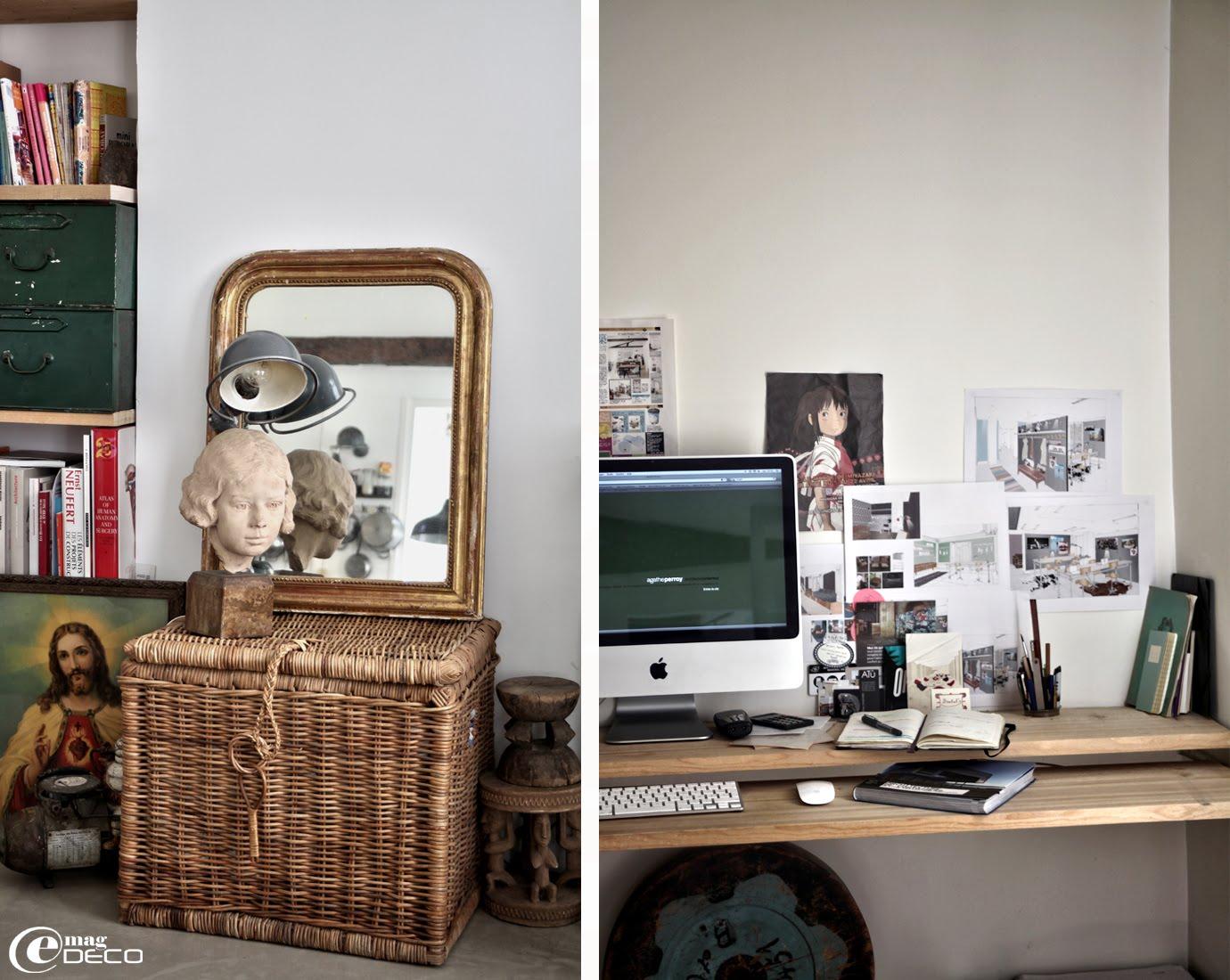 Posé sur une malle en osier Habitat, une sculpture et une lampe articulé Jieldé achetée chez Tombées du Camion