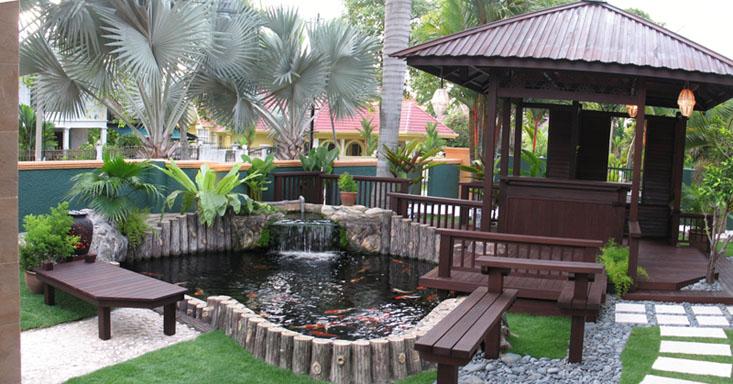 Desa dalam taman konsep neo nusantara seri pinang for Garden pond design malaysia