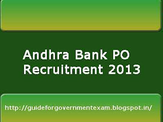 Andhra Bank PO Recruitment 2013