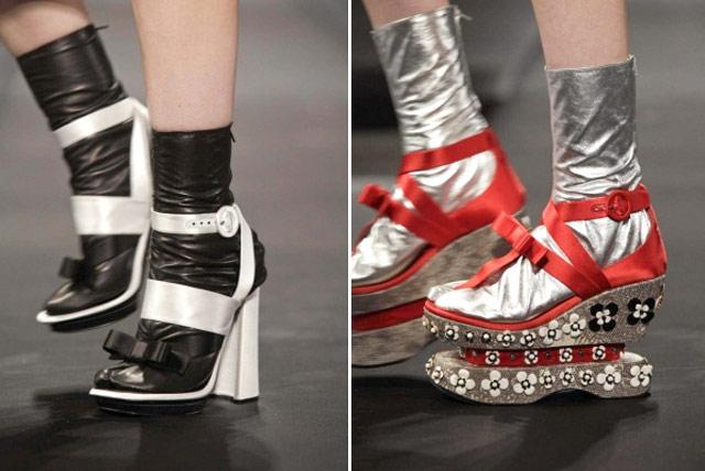 Prada Meia Plataforma Semana de Moda de Milão