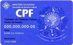 FORMULÁRIO DE INSCRIÇÃO NO CPF