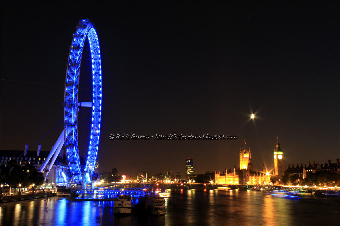 London eye big ben and westminster bridge at night