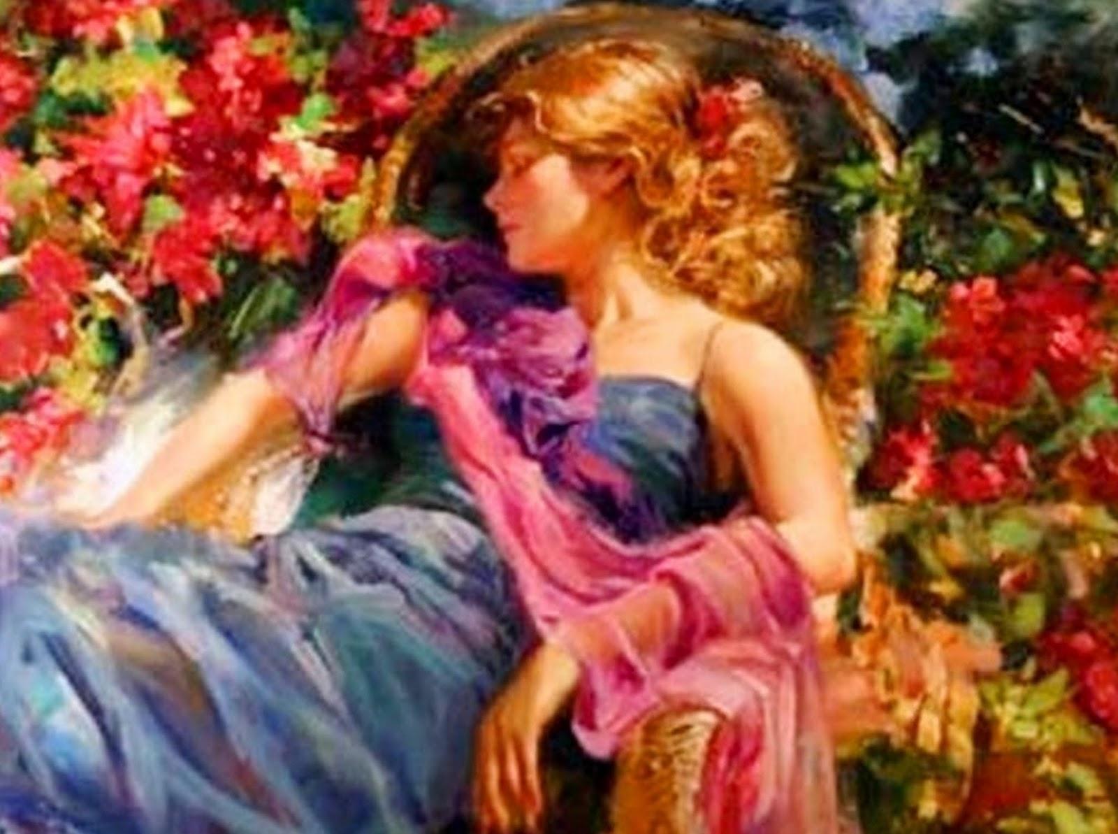Imagenes De Cuadros De Mujeres Con Flores - Artistas pintores Pintura y Artistas