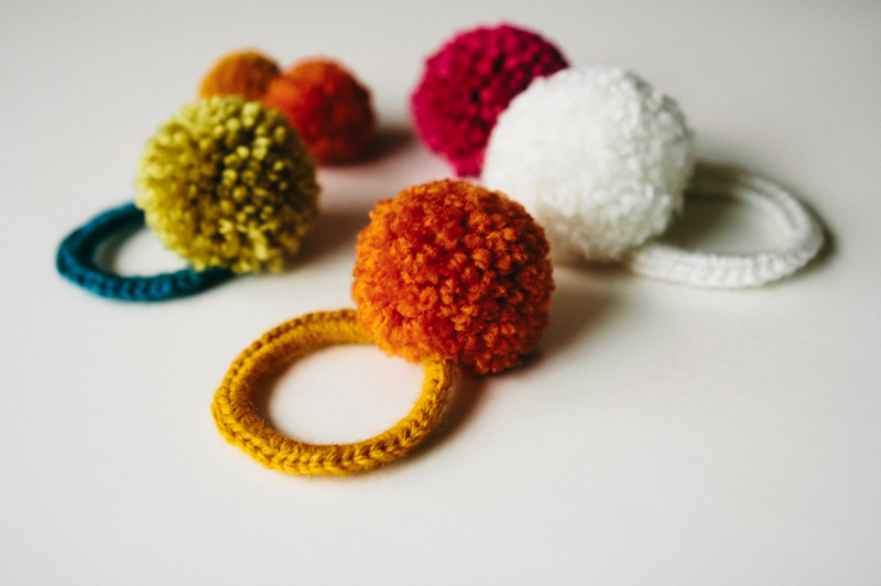 Crochet Hair Rubber Band : ... bit of sunshine: make something monday :: crocheted pom pom hair ties