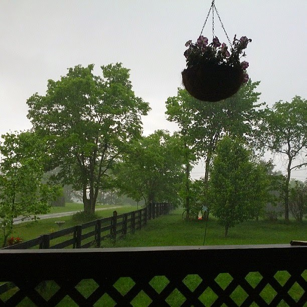 Love having a covered porch during rain storms!
