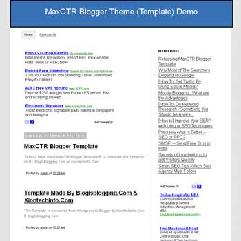 MaxCTR blog template. download fast loading blogger template.