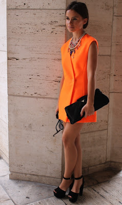 Miroslava Duma Style Orange Dress