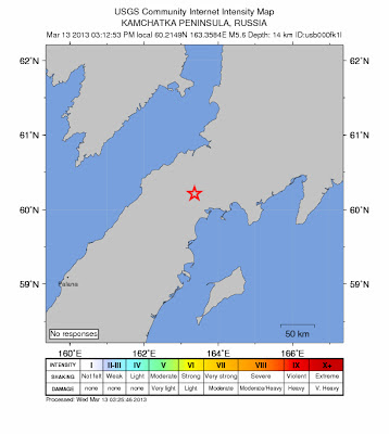 Epicenttro sismo 5,6 grados en Península de Kamchatka, Rusia, 13 de Marzo de 2013