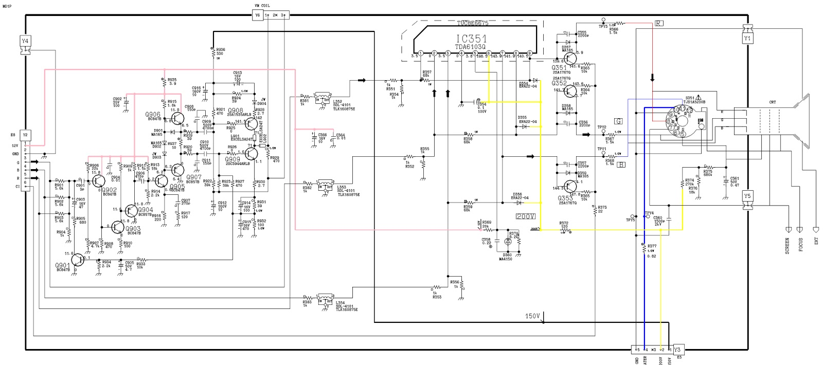 panasonic tx25md1 - power supply  smps  - video output - schematic  circuit diagram