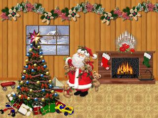 Árbol de navidad y santa