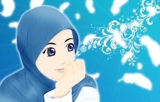 Gambar kartun muslimah cantik berhijab sedih