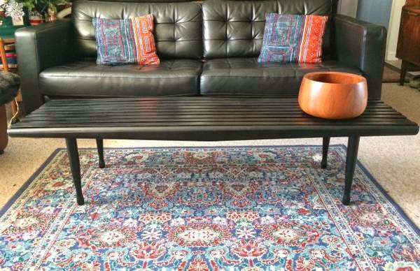 What A Classy Home Vintage Mid Century Danish Modern Slat Bench Coffee Table Eames Era