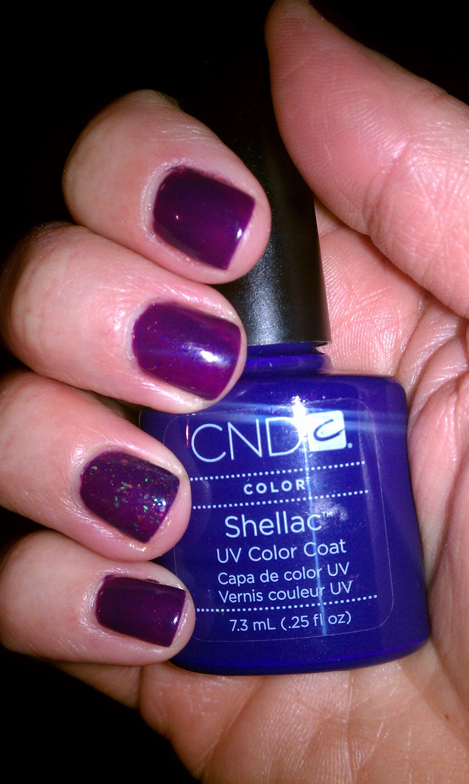 My NYE nails! CND Shellac in Rock Royalty with Zillionaire glitter on