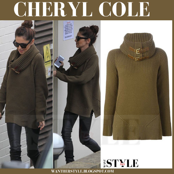 Cheryl Cole in khaki green chunky knit sweater and black leggings what she wore fall style