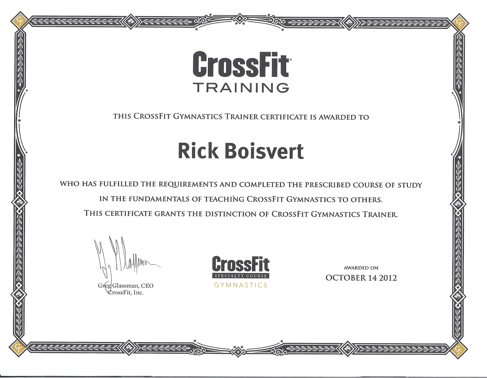 "gymnastics certification  Fitness For Life"": Crossfit Gymnastics Trainer Certification"