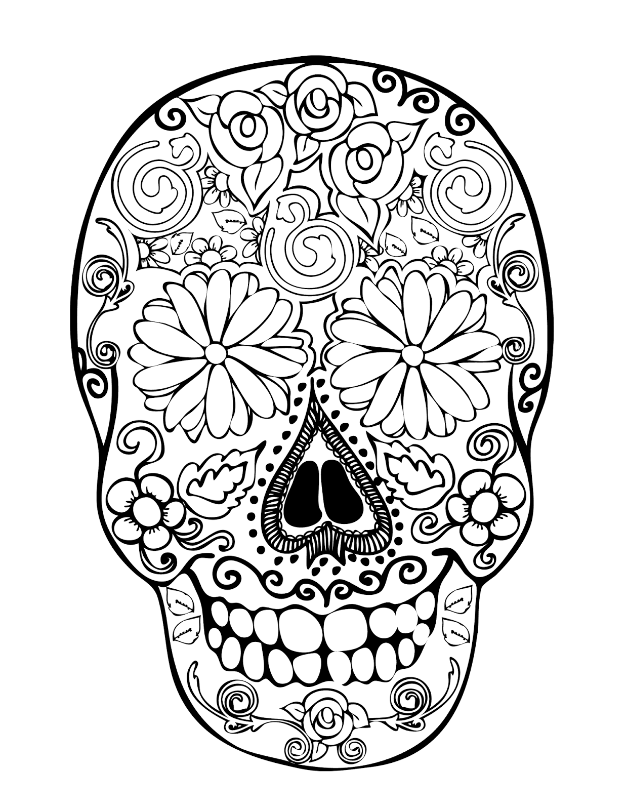 Daisies digis and doodads free digi stamps for Sugar skull color pages