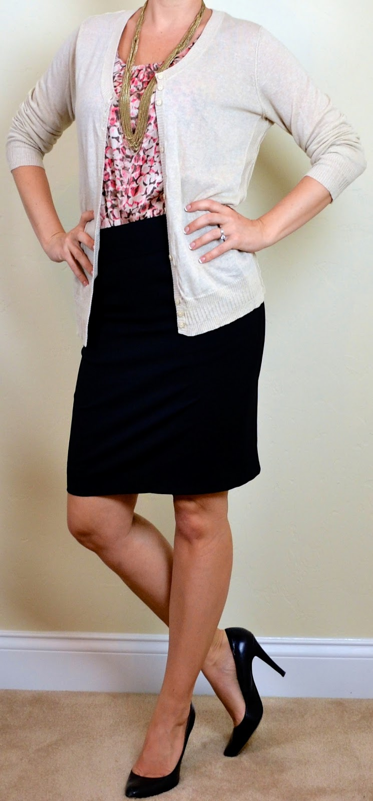 outfit post: pink pattern blouse, beige cardigan, black pencil skirt
