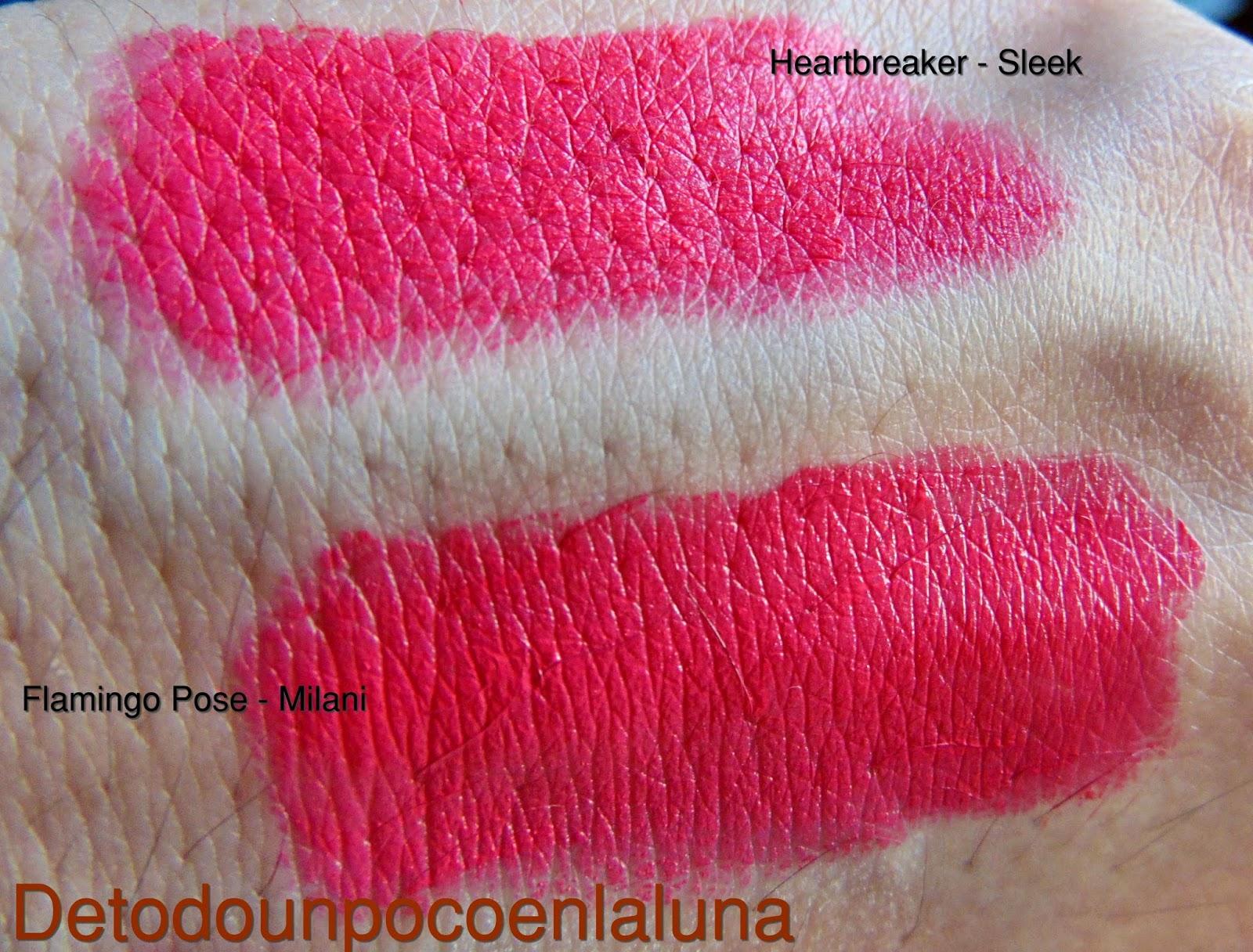 comparación heartbreaker sleek y flamingo pose milani