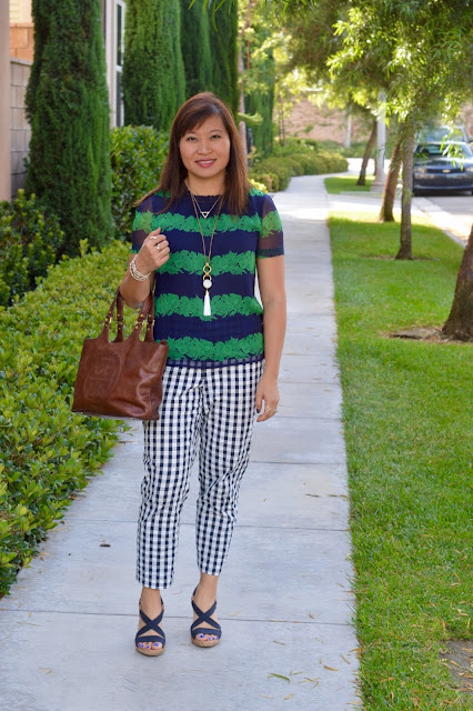 J Crew Top, Loft Gingham Pants, Pattern Mixing, Fashion over 40, OC Blogger