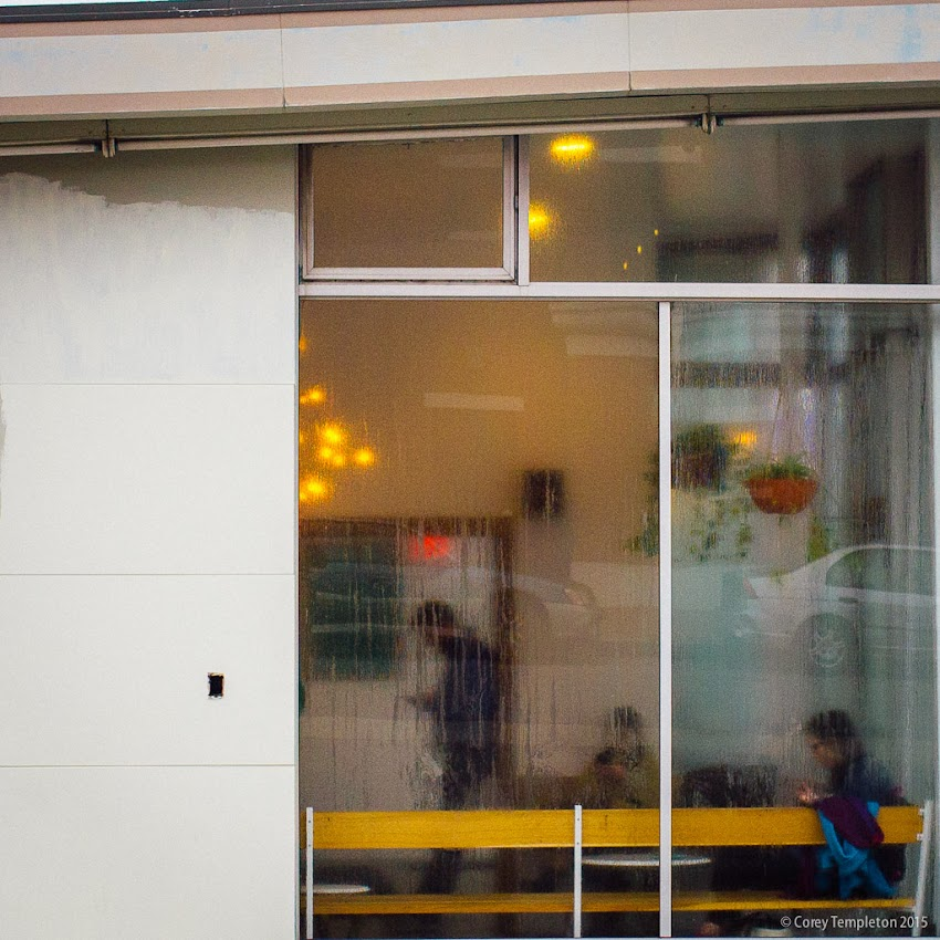 A sort of abstract view into Tandem Coffee & Bakery at 742 Congress Street. The windows are often obscured by condensation on these cool mornings. November 2015 photo by Corey Templeton in Portland, Maine. USA.