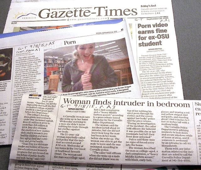 Oregon State University library flasher on front page 9/18/15 and sexual assault on p. A3