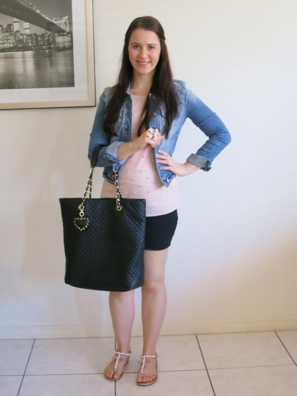 Black bandage skirt, blush embellished top, denim jacket and rose gold accessories.