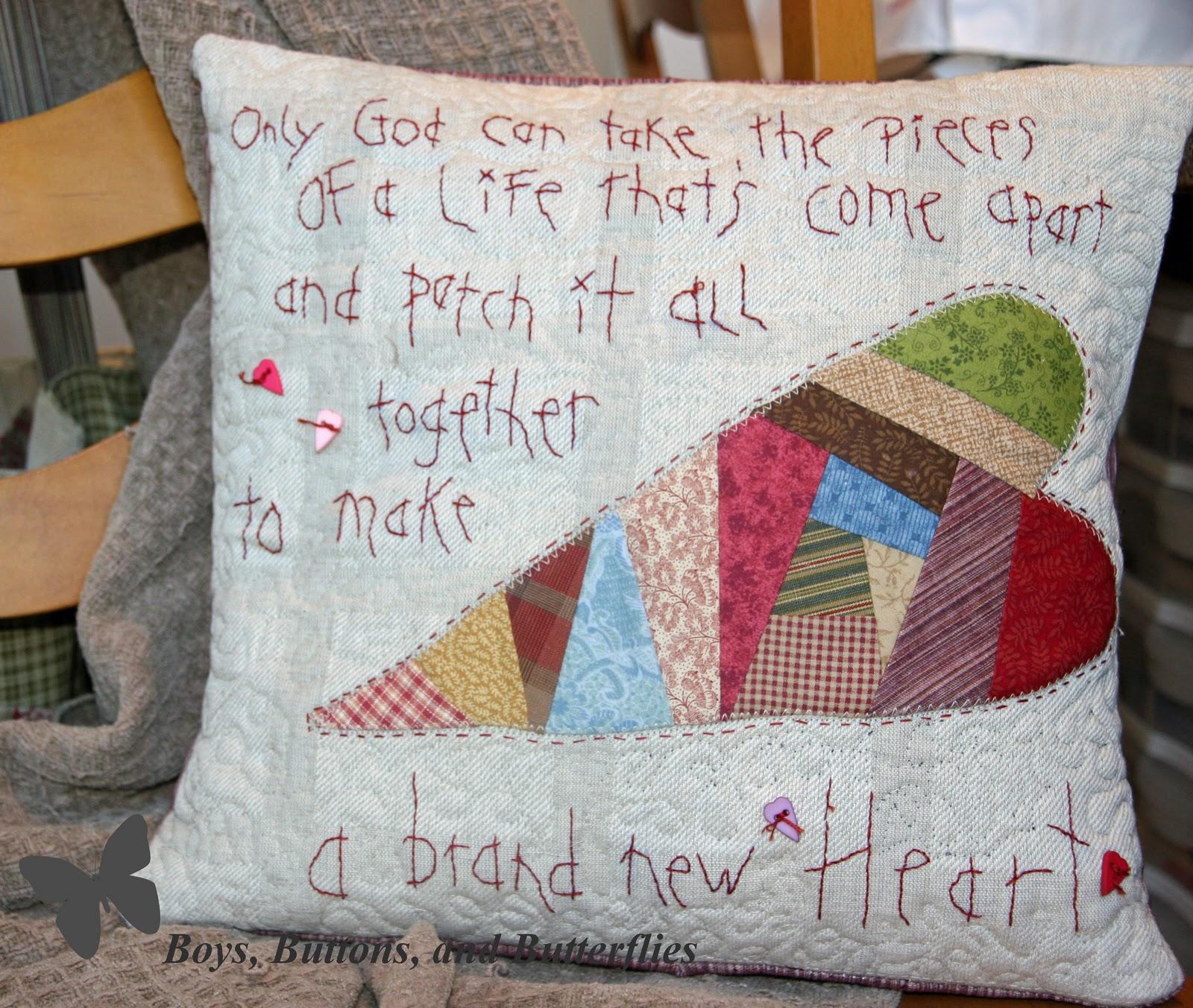 Buttons And Butterflies Quilt Contest Patchwork Heart Pillow