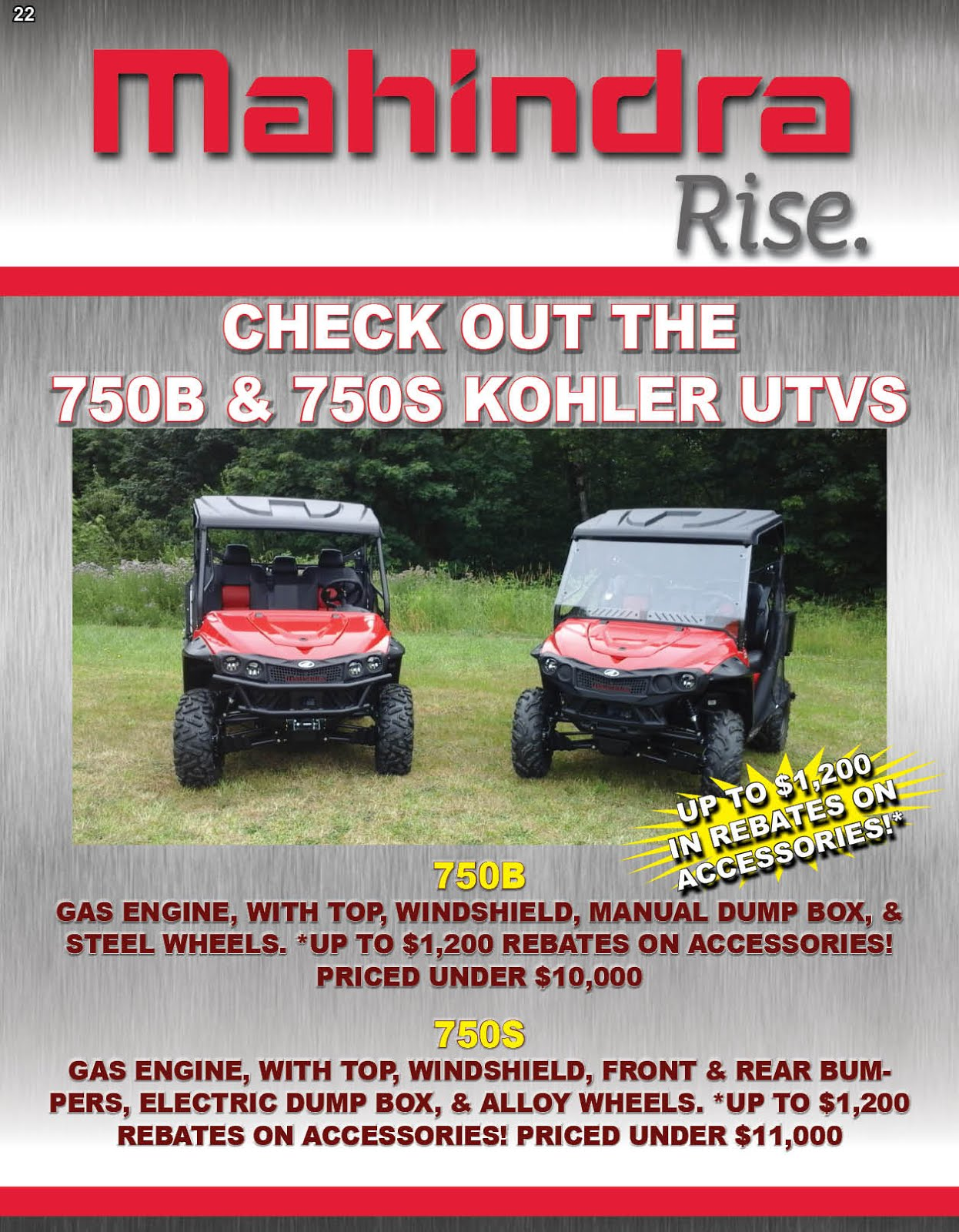 Boulder Equipment Has the Mahindra 750 UTVs On Sale!!