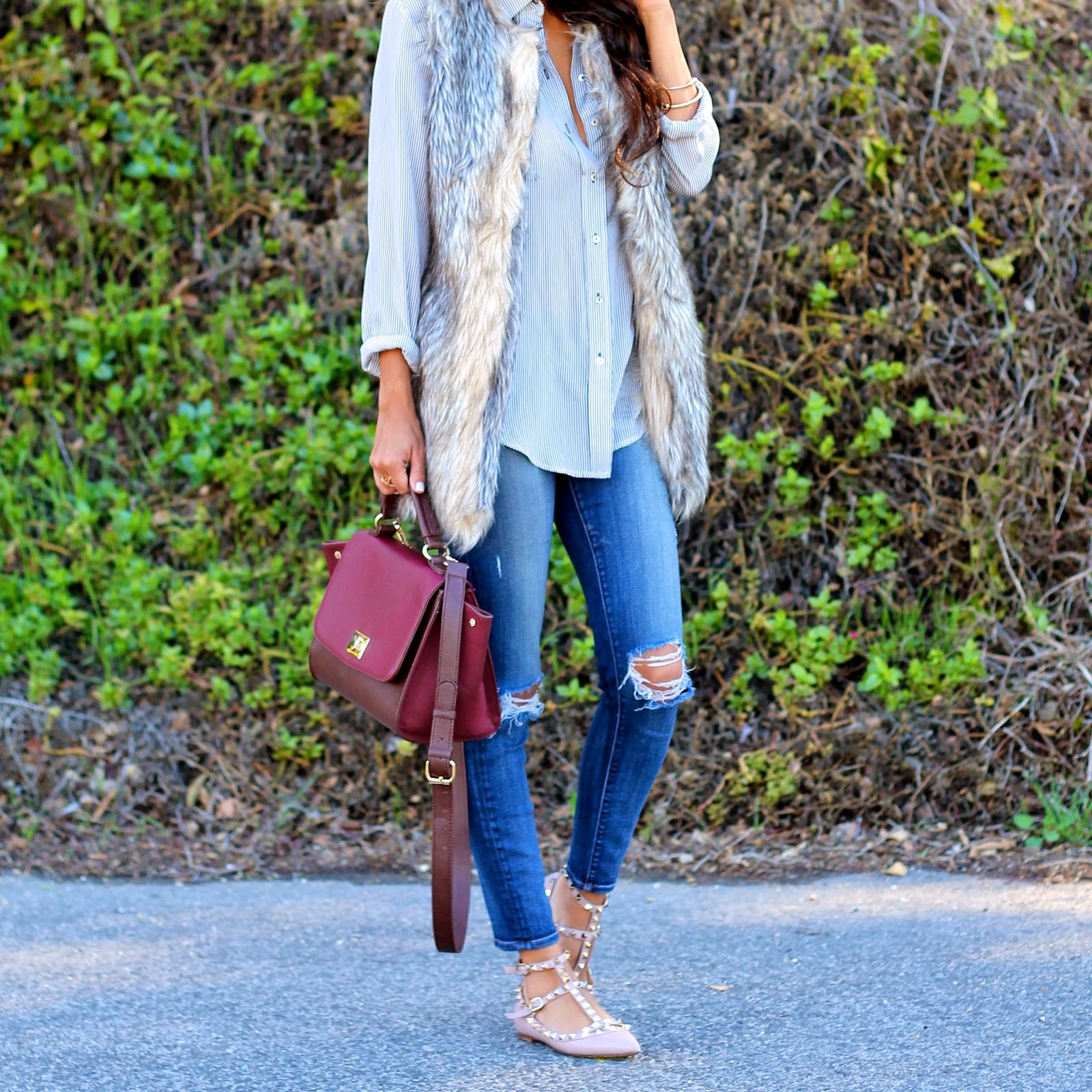 how to style fur vest, target style, fashion, pursuit of shoes, valentino rockstud