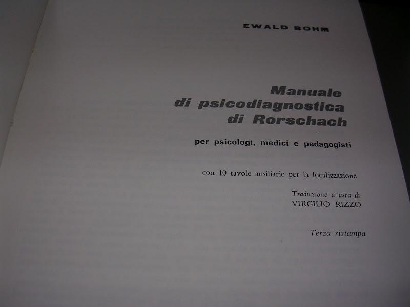 Vuoi un libro manuale di psicodiagnostica di rorschach - Psicologia tavole di rorschach ...
