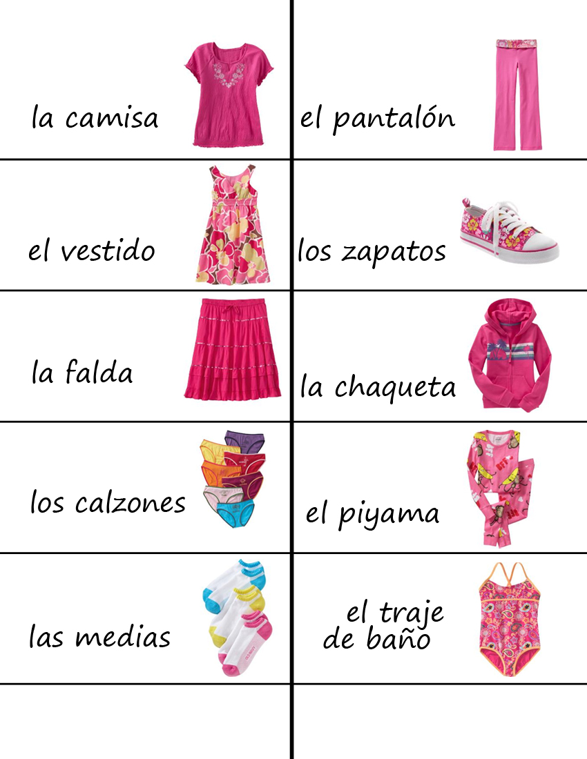 YHWH leads: Homeschool printable ~ Spanish clothing labels
