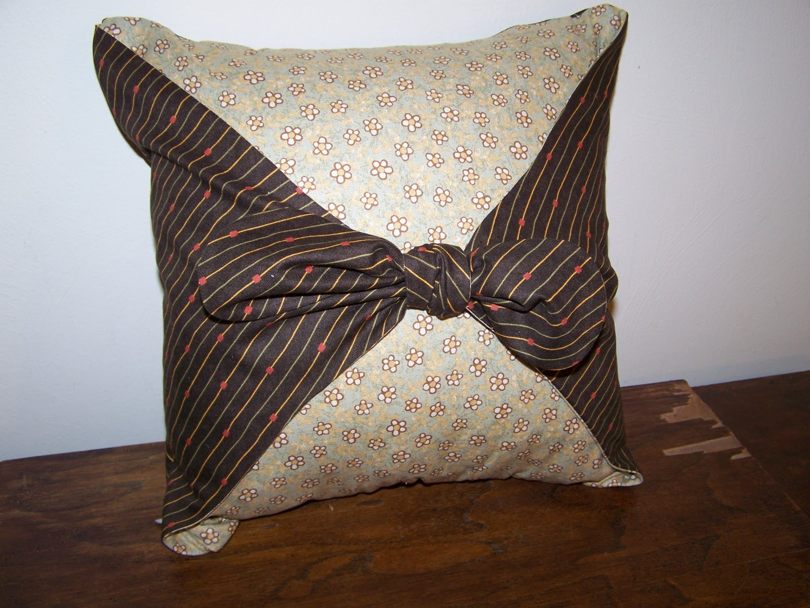 How To Make A Tie Throw Pillow : sewcreatelive: How to Make a Reversible Pillow with Tie