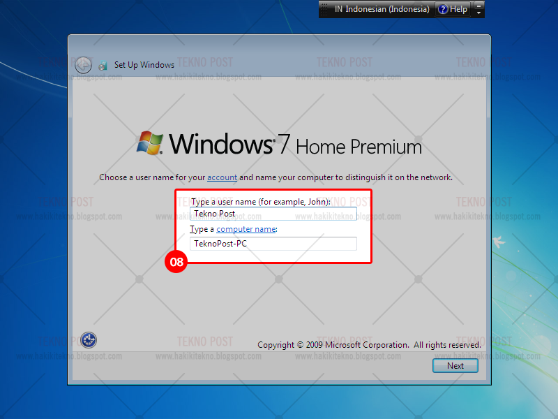 langkah langkah install windows