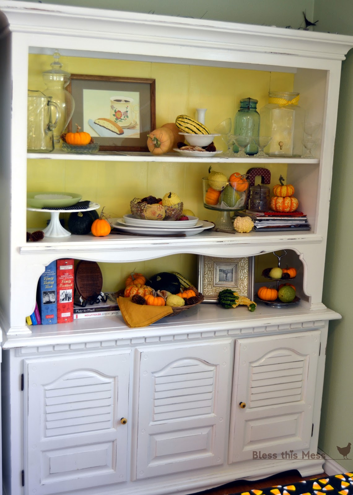 Natural fall decorations bless this mess for Hutch decor